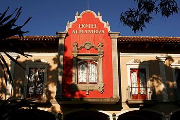 Colonial facade of the Alhambra Hotel in Granada, Nicaragua, Central America