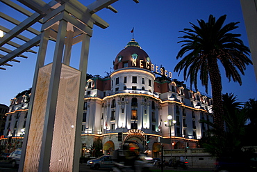 Negresco Hotel, luxury hotel at dusk, Nice, Cote d'Azur, France