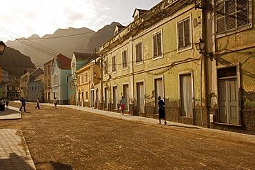 The main street of Ribeira Grande on Santo Antao Island, Cape Verde, Cape Verde Islands, Africa