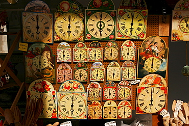 Clocks and souvenirs in a souvenir shop, Ljubljana, Slovenia, Europe