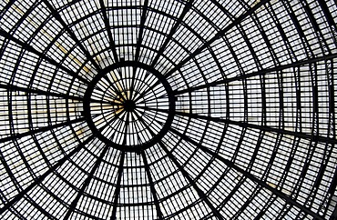 Detail of the glass-and-iron roof of the Galleria Umberto I in Naples, Italy, Europe