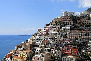 Hill-side town of Positano on Amalfi Coast, Campania, Italy, Europe