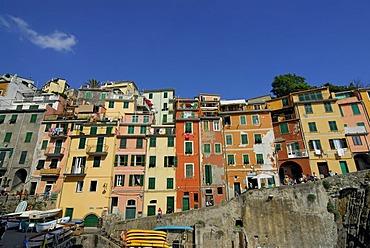 Colourful houses in Riomaggiore, Cinque Terre, Liguria, Italy, Europe
