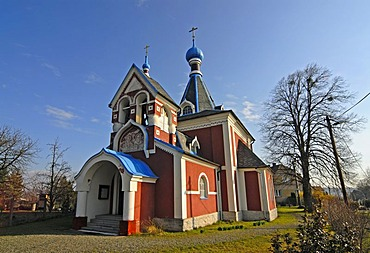 Picturesque Orthodox Christian church of St. Ludmila in Rimice, Czech Republic, Europe