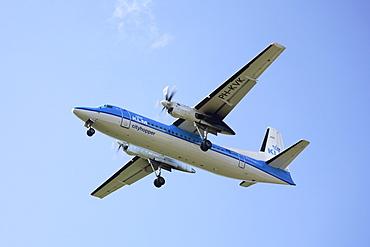 Propeller airplane of KLM landing