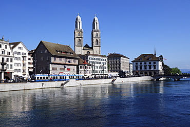 Grossmuenster Cathedral and the Limmat River, Zurich, Switzerland, Europe