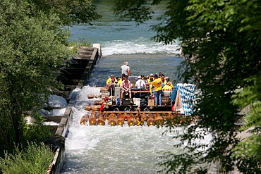Rafts in the Flossgasse, Muehltal near Munich, Upper Bavaria, Bavaria, Germany