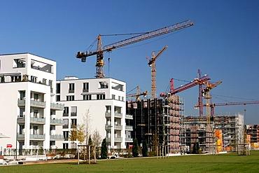"Construction site ""Arnulfpark"" with crane, Munich, Upper Bavaria, Bavaria, Germany"