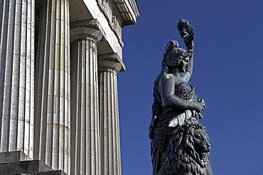 Bavaria statue and Ruhmeshalle, Munich, Upper Bavaria, Bavaria, Germany