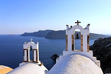 Church towers, Oia, Santorin, Aegean Sea, Greece, Europe