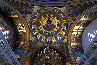 Interior of a greek orthodox church in Fira in Santorin in the Aegean, Greece