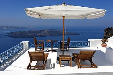 Terrace of a hotel in Imerovigli in Santorin in the Aegean, Greece