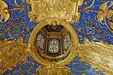 """Ceiling details, """"Rich chapel"""", the private Prayer Room of the Duke Maximilian I in the Residence Museum, Munich, Upper Bavaria, Bavaria, Germany"""