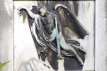 Thanatos on the gravestone, grave of Dr. jur. Georg Ludwig Ritter von Maurer, 1790-1872, privy council, Alter Suedfriedhof Cemetery, Munich, Bavaria, Germany
