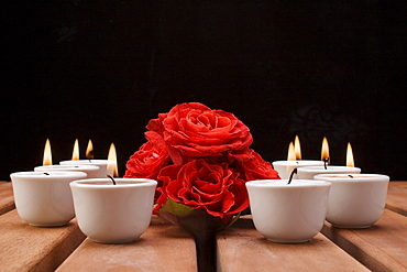 Roses in the light of tea candles