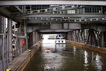 Ship canal lift Niederfinow in Brandenburg, Germany, Europe