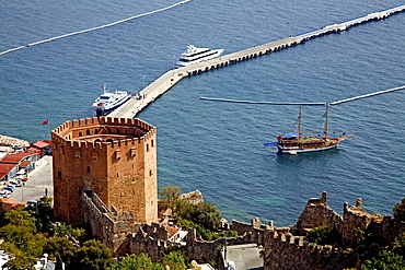 View of the harbour and Kizil Kule (Red Tower), Alanya, Turkey, Asia