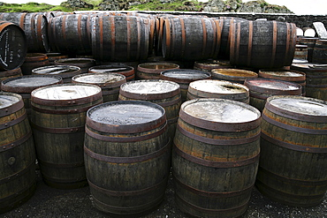 Barrels at a distillery on Islay Island, Inner Hebrides, Scotland, UK, Europe