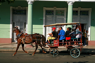 Horse and carriage, taxi service in Cienfuegos, Cuba, Caribbean, Americas