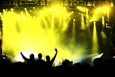 People cheering in front of the big stage at Southside, open-air festival, Neuhausen ob Eck, Bavaria, Germany, Europa