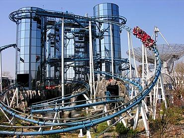 Roller coaster Euromir in the Europapark Rust, Baden-Wuerttemberg, Germany