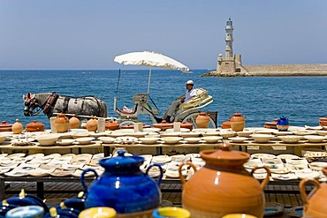 Potter ware, port of Chania, Crete, Greece, Europe
