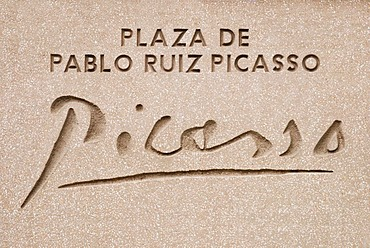 Marble plaque Plaza de Picasso, Picasso Square, Madrid, Spain