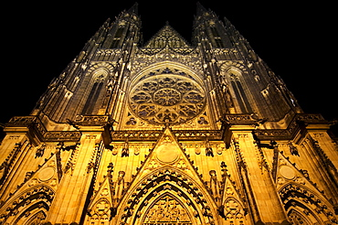 St. Vitus Cathedral at night, Hrad&any (Castle District), Prague, Czech Republic, Europe