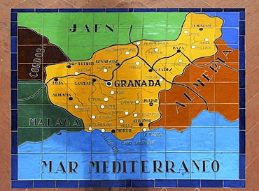 Map showing parts of Spain on ceramic tiles at the Palacio de Espana, Seville, Andalusia, Spain
