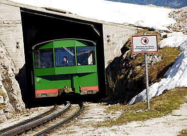 The Schafbergbahn, cog railway on the Schafberg Mountain coming out of a tunnel, Salzburg, Austria, Europe