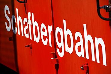 Lettering of Schafbergbahn, on a waggon, Salzburg, Austria, Europe