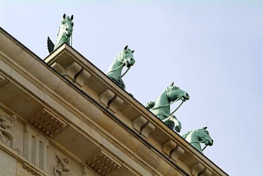The horses of the Quadriga on the Brandenburg Gate.