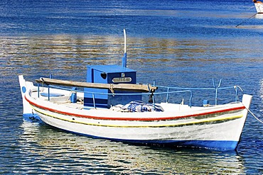Fishing boat, in Kythnos Habour, Cyclades, Greece.