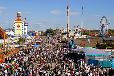 View over the crowds at the Oktoberfest, Munich, Bavaria, Germany