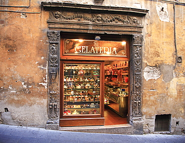 Historical ice-cream parlour in the old town, Assisi, Umbria, Italy