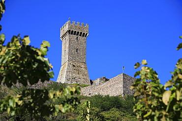 Tower of the castle Rocca Forte at Radicofani, Tuscany, Italy