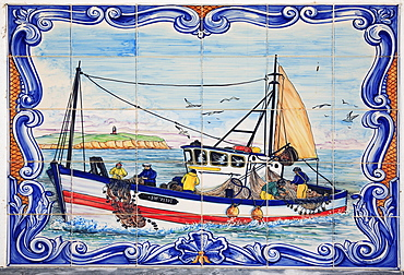 Panel of historical Azulejos, Ferragudo, Algarve, Portugal