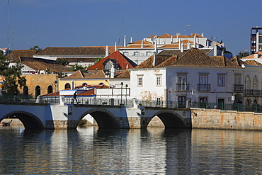 Old town and Roman bridge over the Gilao river, Tavira, Algarve, Portugal