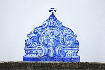 Historical Azulejo panel at the church Sao Lourenco de Matos near Almansil, Algarve, Portugal