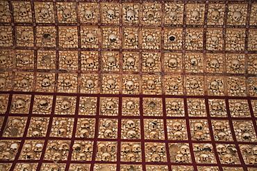 Capela dos Ossos, bone chapel, at the Igreja do Carmo, Carmelite church, Faro, Algarve, Portugal
