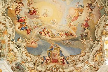 Dome fresco, Wies Church, pilgrimage church of the scourged Savior, County Steingaden, Pfaffenwinkel, Bavaria, Germany, Europe