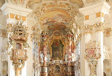 Altar and interiors, Wies Church, pilgrimage church of the scourged Savior, County Steingaden, Pfaffenwinkel, Bavaria, Germany, Europe