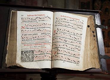 Historical hymnbook, Cistercian convent Abbazia di Staffarda near Saluzzo, Piemont, Italy