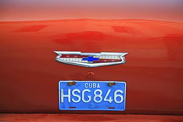 Cuban licence plate on a vintage car in Havana, Cuba, Caribbean