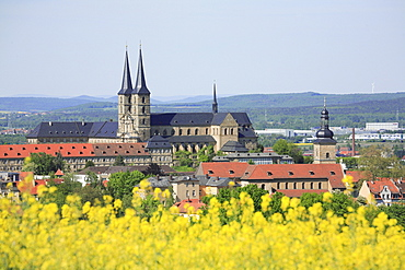 Panoramic view of Bamberg with Michaelskloster Monastery and Michelsberg, Upper Franconia, Bavaria, Germany, Europe