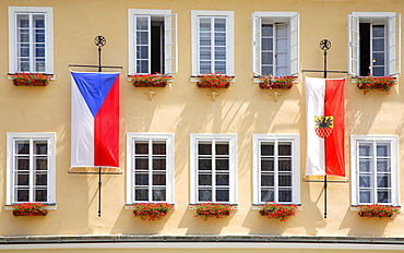 City Hall facade with flags on the market square of Cheb, Eger, Egerland, Czech Republic, Europe