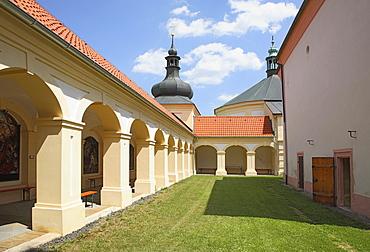 Cloister of the pilgrimage church Maria Loreto in Star˝ Hroznatov, Altkinsberg, Cheb region, Eger, Boehmen, Egerland, Czech Republic, Europe