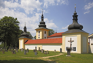 Historic cemetery of the pilgrimage church Maria Loreto in Star˝ Hroznatov, Altkinsberg, Cheb region, Eger, Boehmen, Egerland, Czech Republic, Europe