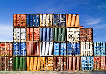 Various shipping containers, stacked