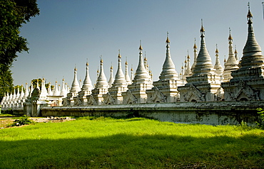 Many white stupas forming several rows, Mandalay, Myanmar (Burma), Southeast Asia